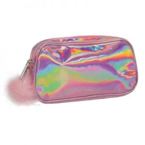 pink holographic small cosmetic bag